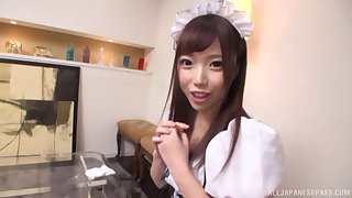 Redhead slender Japanese teen Aise Miki spits out cum in POV