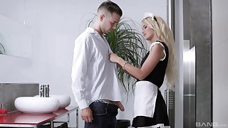Blonde maid in uniform Aisha Angel loves getting her mouth cum filled