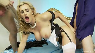Classy blonde MILF Tanya Tate gets cum in her mouth by two guys