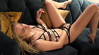 Red lace lingerie ragging and masturbation