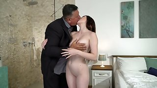 Cute young brunette Mia Evans is hungry for crazy sex with elder old stepdad